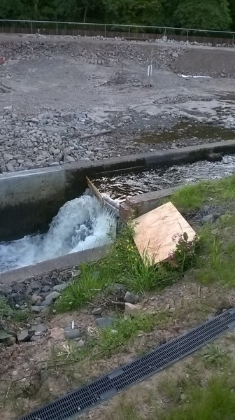 Deliberate blockage of fish pass