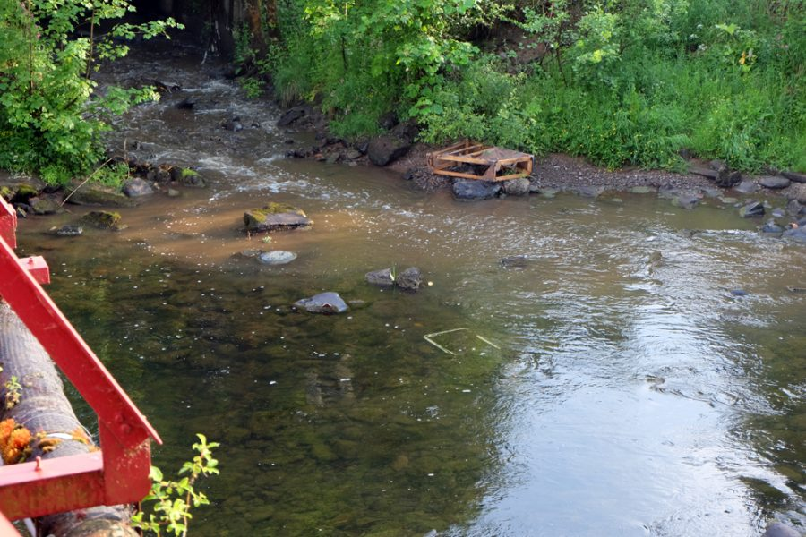 The Bogend Burn was running dirty and the obvious source of the pollution.